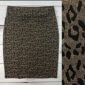 LuLaRoe Elegant Cassie Metallic Leopard Skirt